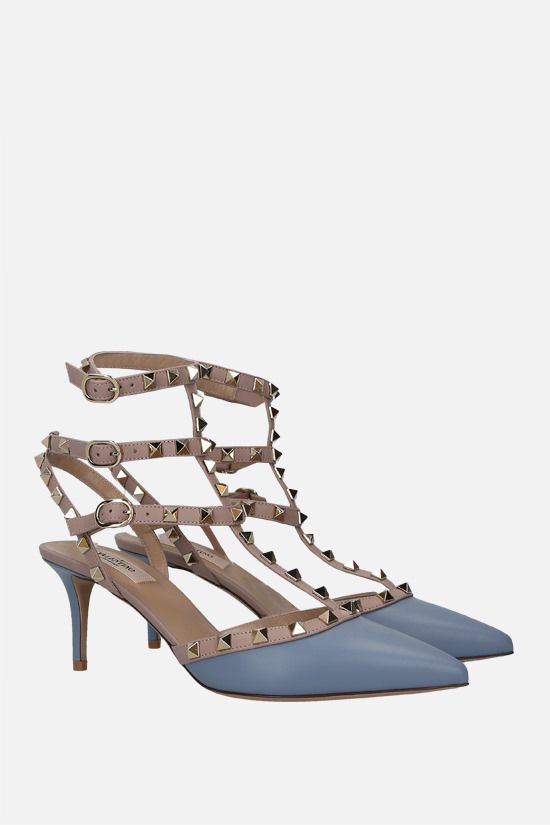 VALENTINO GARAVANI: Rockstud smooth leather slingbacks Color Blue_2