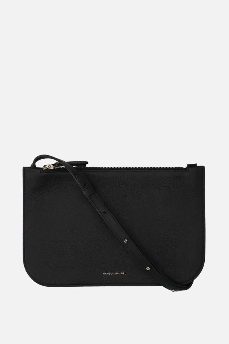 MANSUR GAVRIEL: grainy leather double crossbody bag Color Black_1