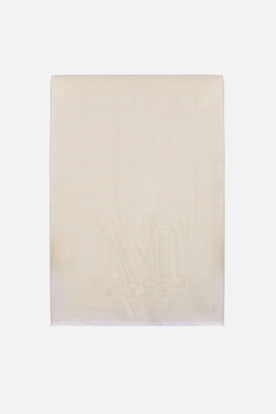 MAX MARA: Liuto2 wool silk blend stole Color White_1