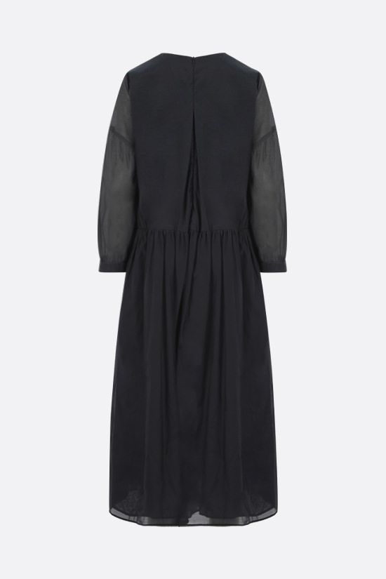 'S MAX MARA: Adorno silk and cotton voile long dress Color Blue_2