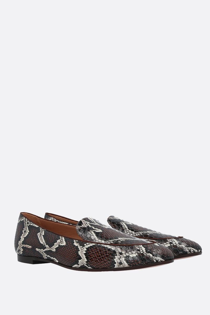 AQUAZZURA: Purist snakeskin loafers Color Brown_2