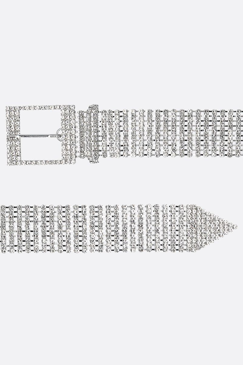 B-LOW THE BELT: Farah belt in crystal-embellished metal mesh Color Silver_2