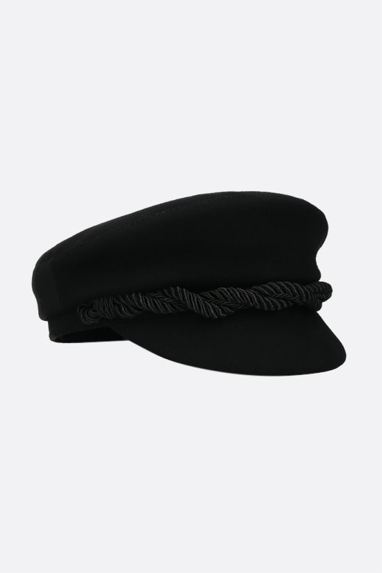 RUSLAN BAGINSKIY: trimming-detailed wool felt baker boy cap Color Black_2