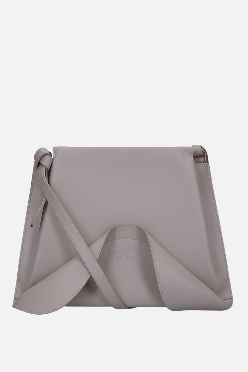 GIAQUINTO BAGS: Ashley crossbody bag in smooth leather Color White_1