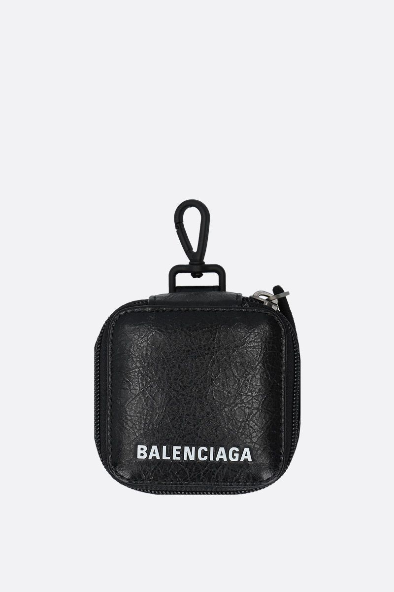 BALENCIAGA: Arena leather headphone case Color Black_1