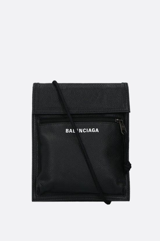 BALENCIAGA: Explorer grainy leather crossbody bag Color Black_1