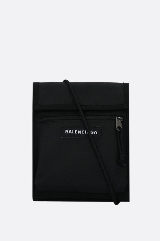BALENCIAGA: Explorer recycled nylon crossbody bag Color Black_1