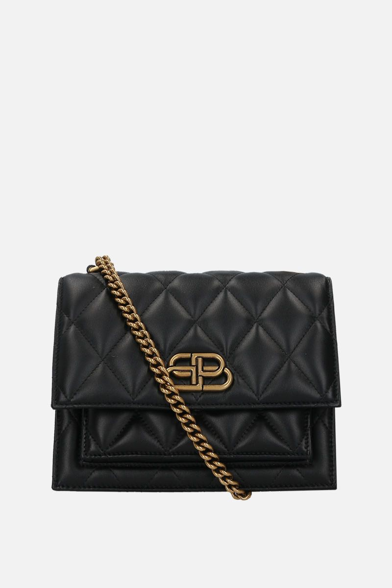 BALENCIAGA: Sharp S shoulder bag in quilted leather Color Black_1