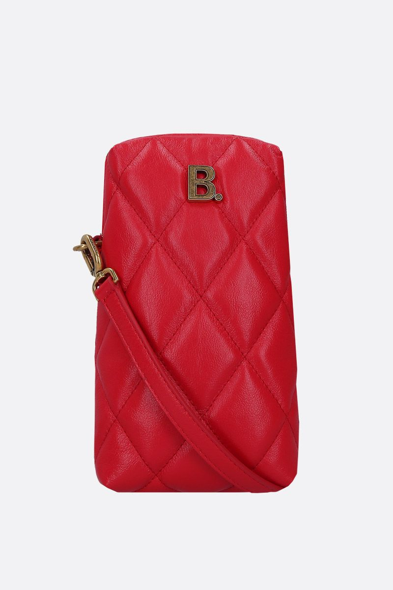 BALENCIAGA: Touch Rectangle crossbody bag in quilted leather Color Red_1