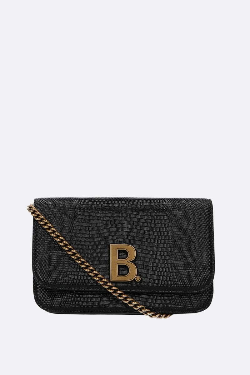 BALENCIAGA: B. lizard embossed leather chain wallet Color Black_1