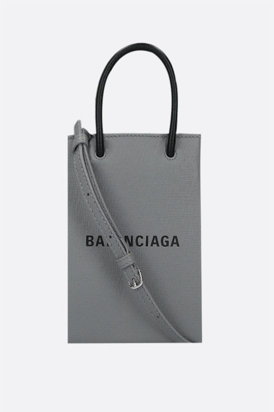 BALENCIAGA: Shopping textured leather phone holder bag Color Grey_1