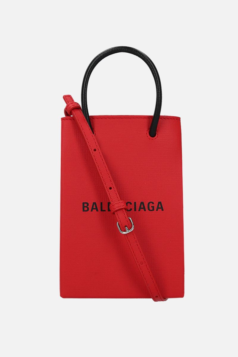 BALENCIAGA: Shopping textured leather phone holder bag_1