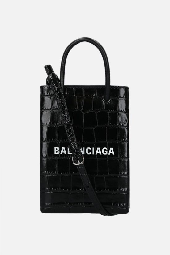 BALENCIAGA: Shopping crocodile embossed leather phone holder bag Color Black_1