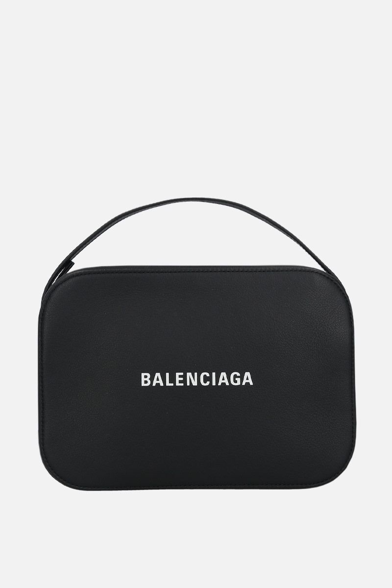 BALENCIAGA: Everyday S grainy leather camera bag Color Black_1