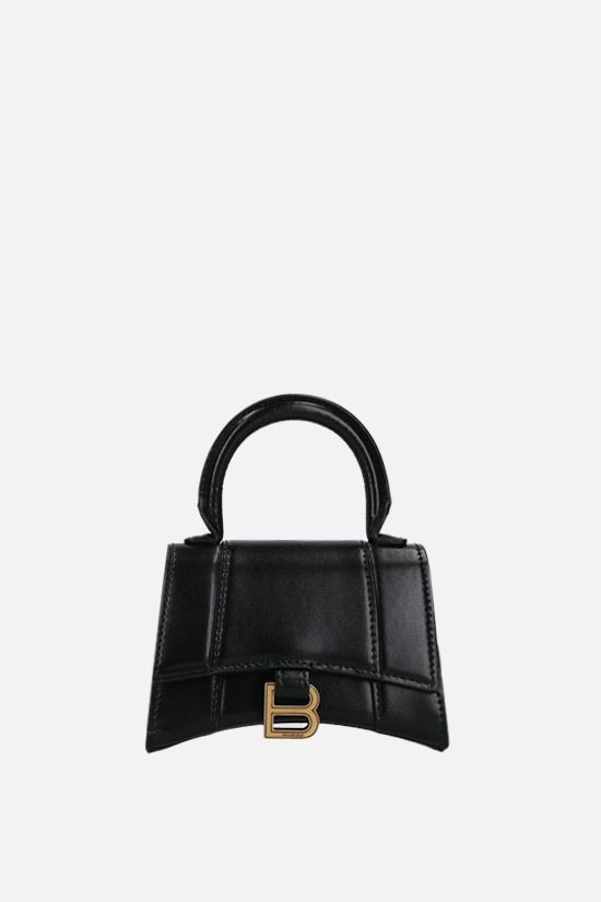 BALENCIAGA: Hourglass mini shony leather crossbody bag Color Black_1