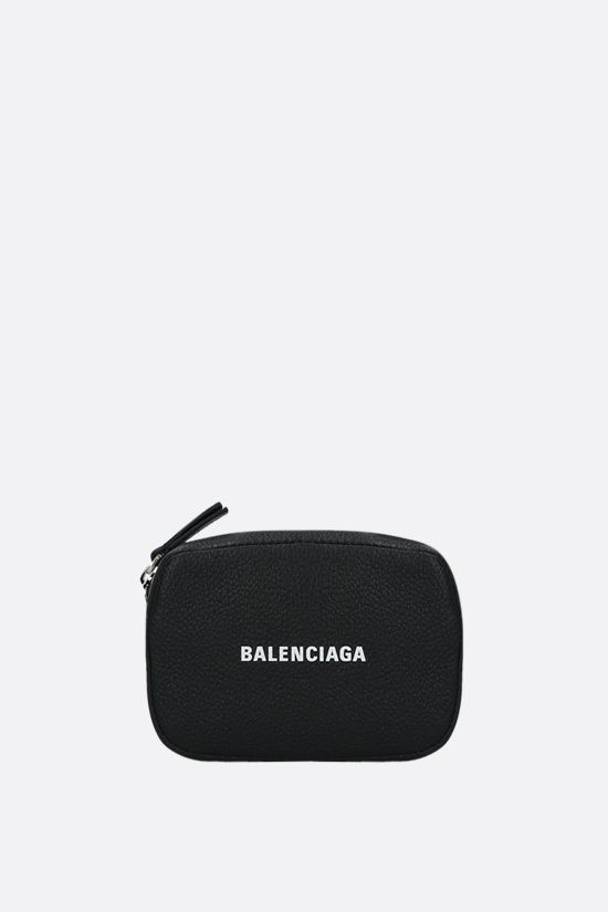 BALENCIAGA: Cash mini grainy leather crossbody bag Color Black_1