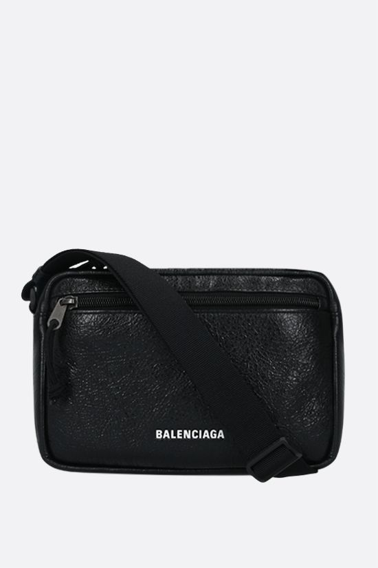 BALENCIAGA: Explorer shoulder bag in Arena leather Color Black_1