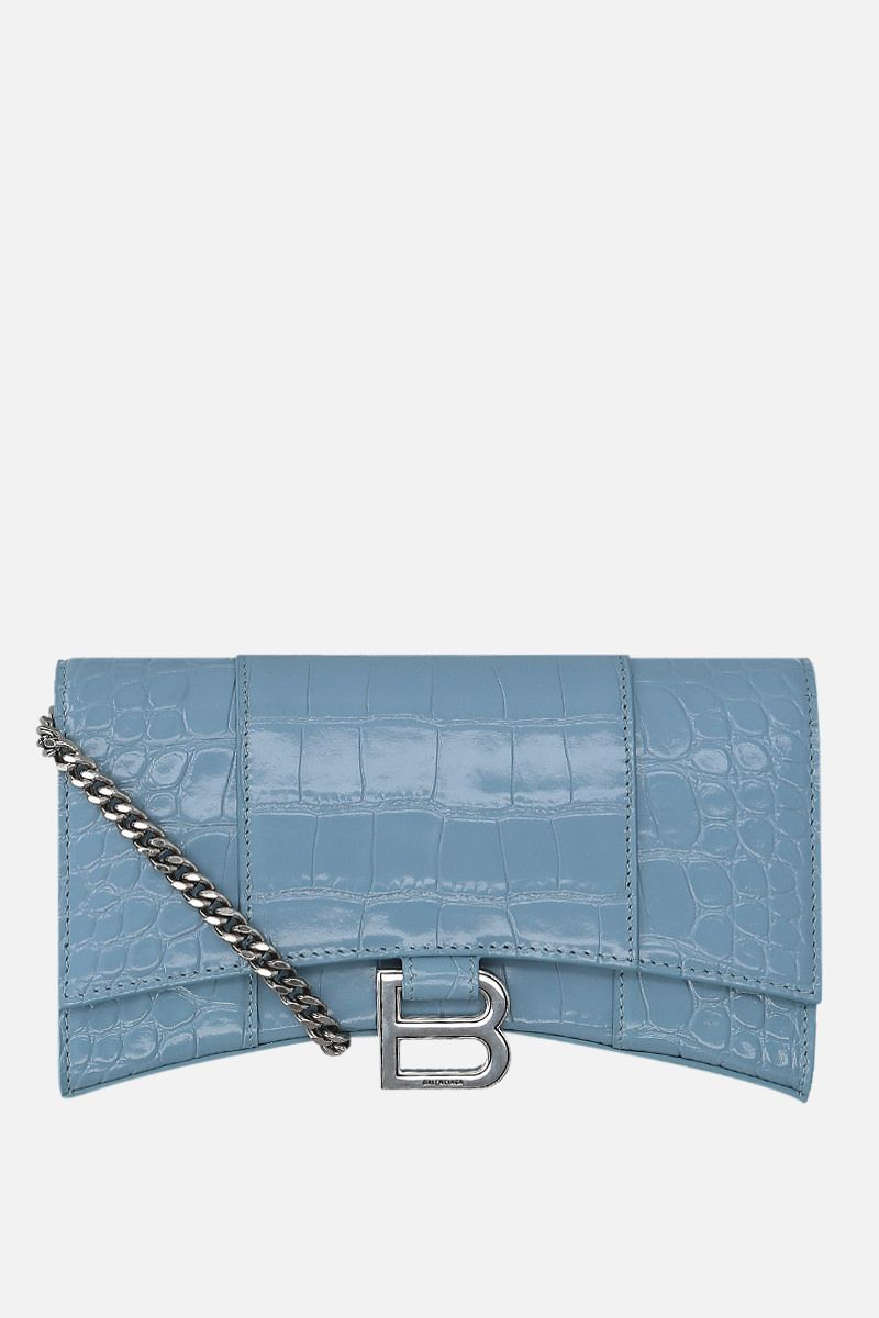 BALENCIAGA: Hourglass shiny croc-embossed leather chain wallet Color Blue_1