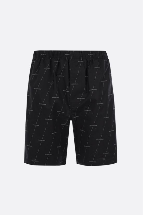 BALENCIAGA: logo print poplin shorts Color Black_1