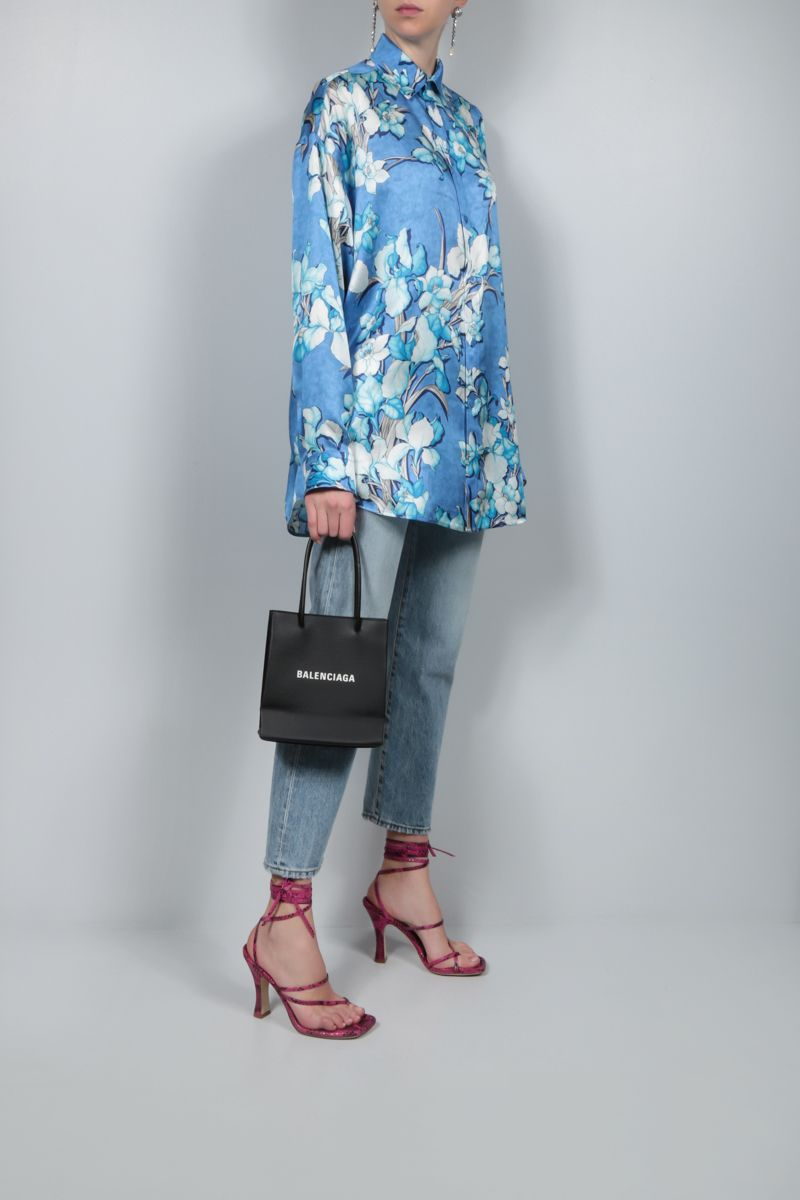 BALENCIAGA: oversize lily print silk shirt Color Blue_2