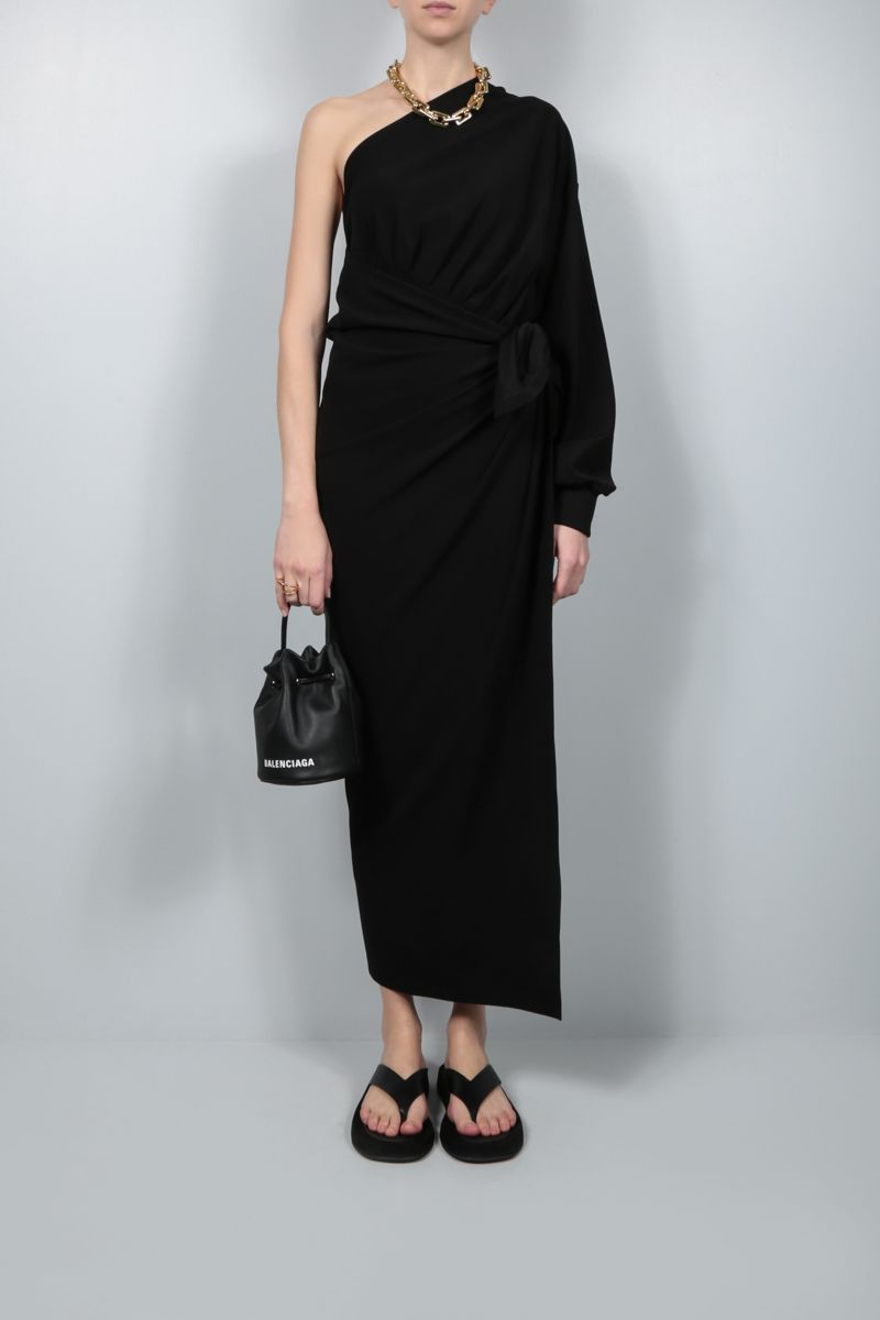 BALENCIAGA: Body Wrap technical jersey one-shoulder dress Color Black_2