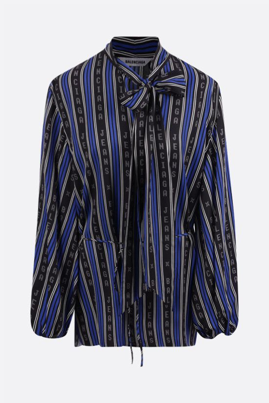 BALENCIAGA: striped twill wrap blouse Color Black_1