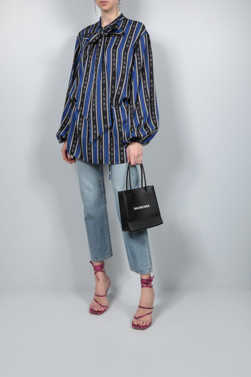 BALENCIAGA: striped twill wrap blouse Color Black_2