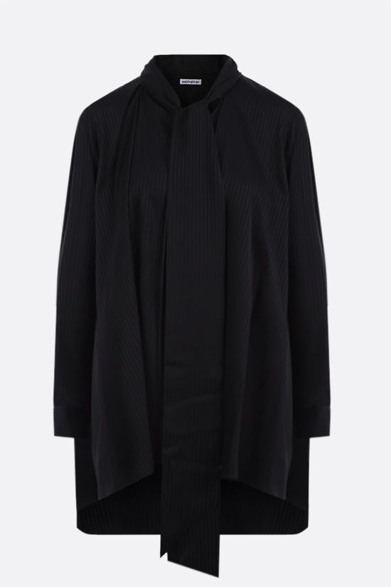 BALENCIAGA: oversize striped jacquard blouse Color Black_1