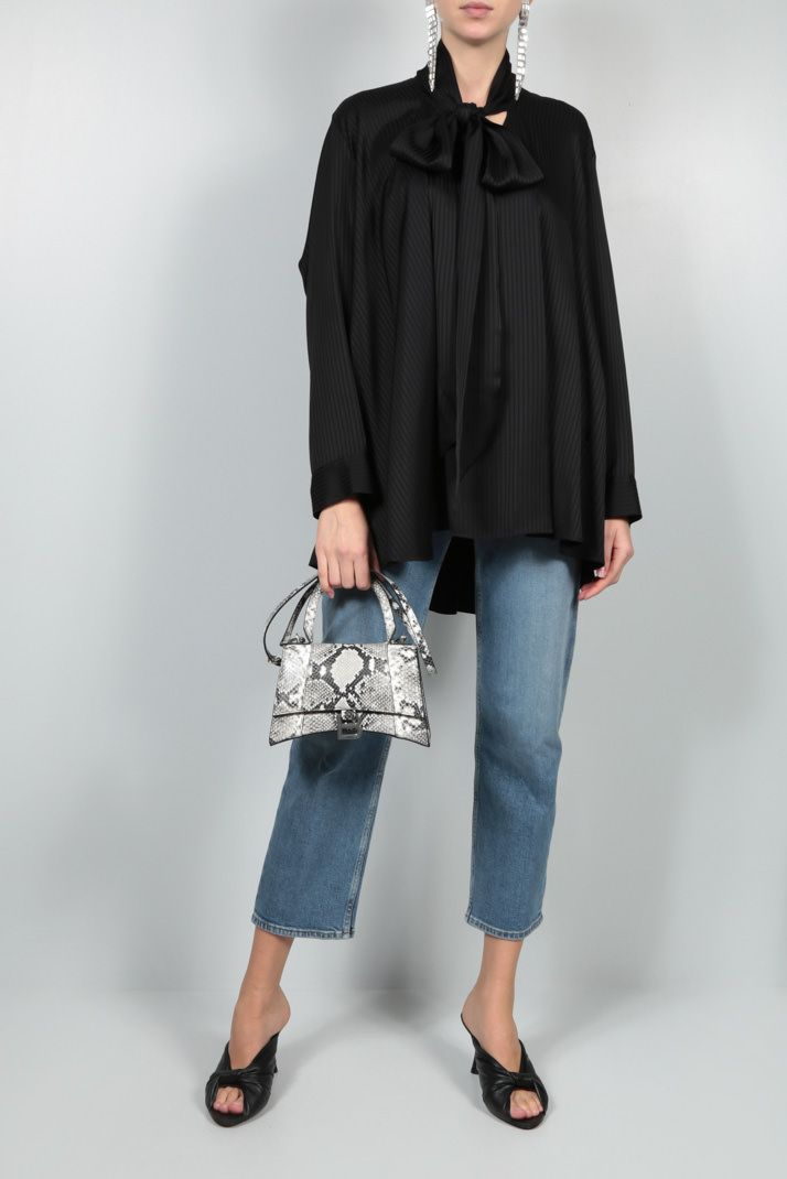 BALENCIAGA: oversize striped jacquard blouse Color Black_2