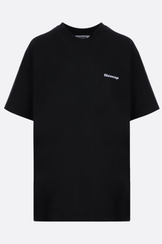 BALENCIAGA: logo embroidered cotton t-shirt Color Black_1