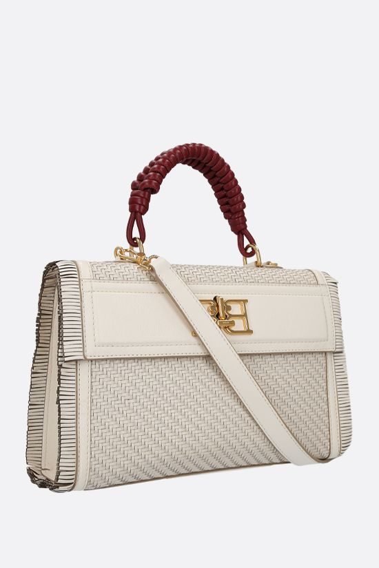 BALLY: Brettie woven leather top handle bag Color Neutral_2