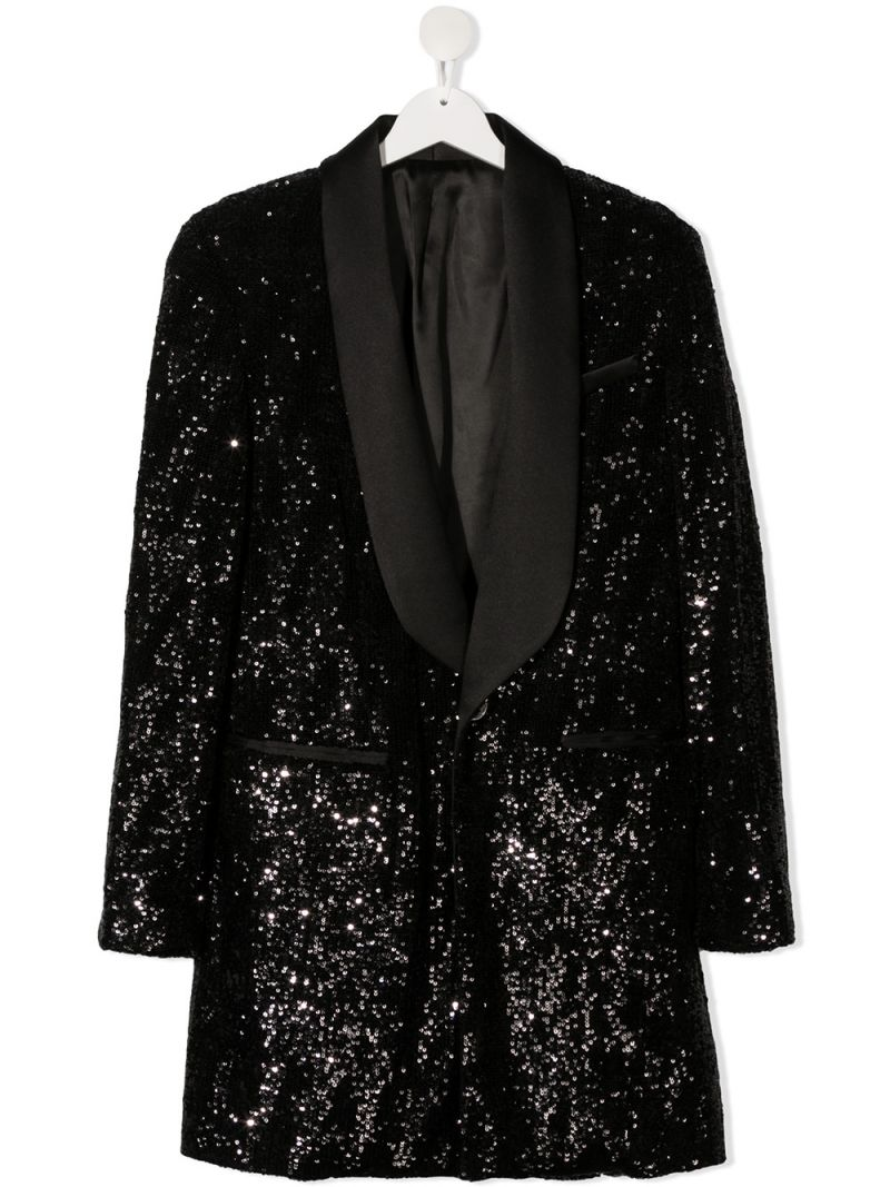 BALMAIN KIDS: sequinned cotton jacket-dress Color Black_1