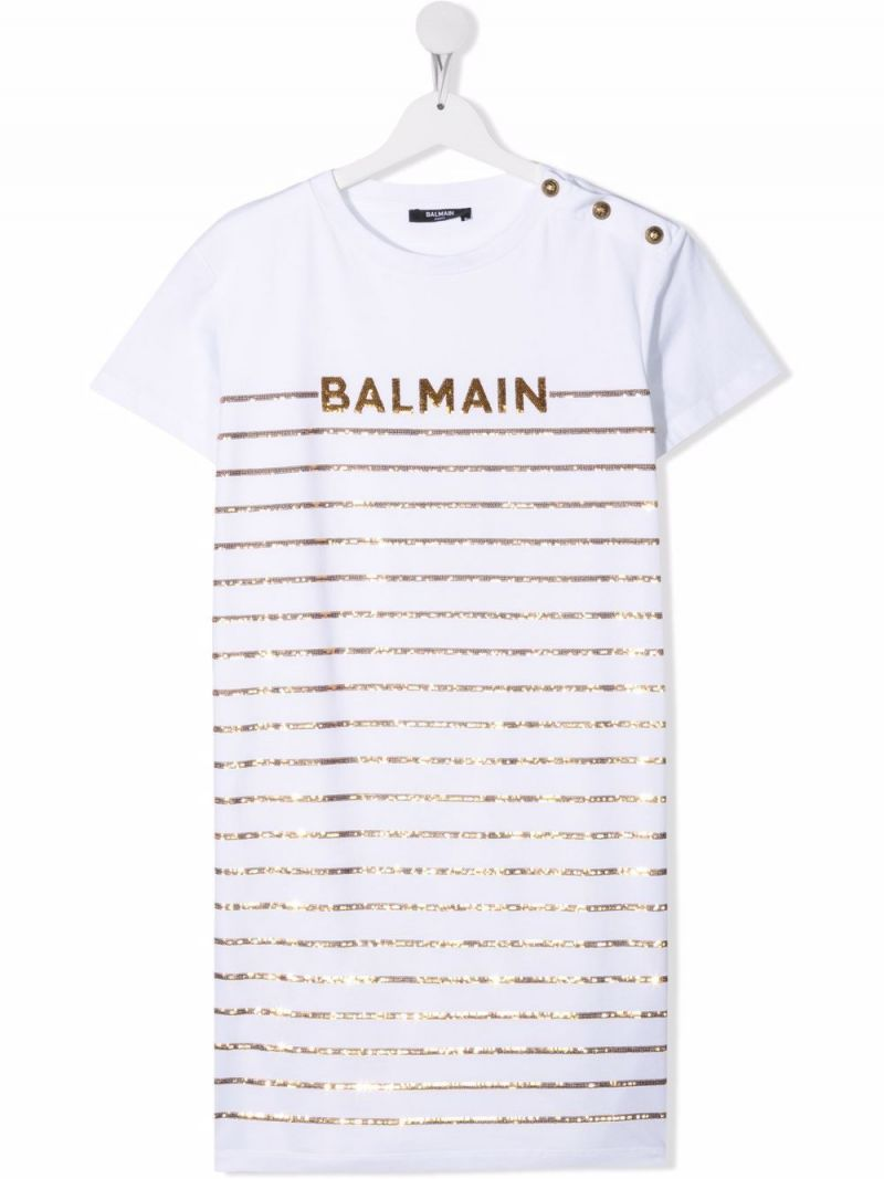 BALMAIN KIDS: sequinned stripes and logo embroidered cotton t-shirt dress Color White_1