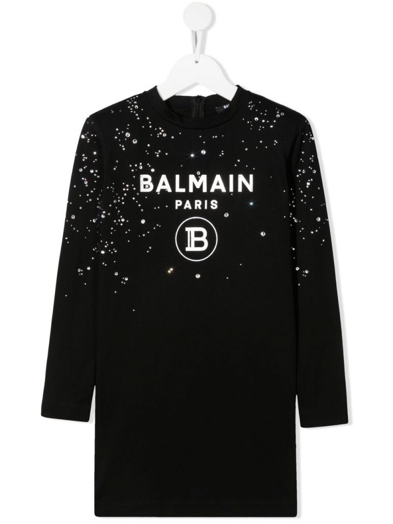 BALMAIN KIDS: rhinestone-detailed cotton short dress Color Black_1
