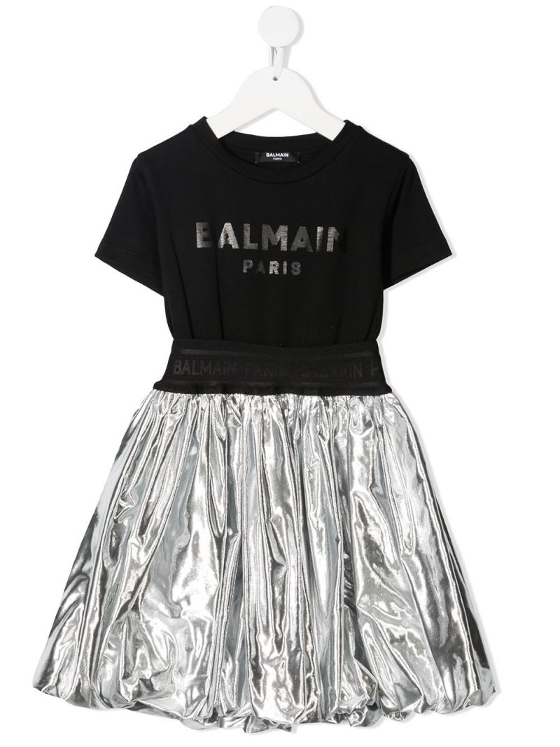 BALMAIN KIDS: cotton and laminated nylon dress Color Black_1