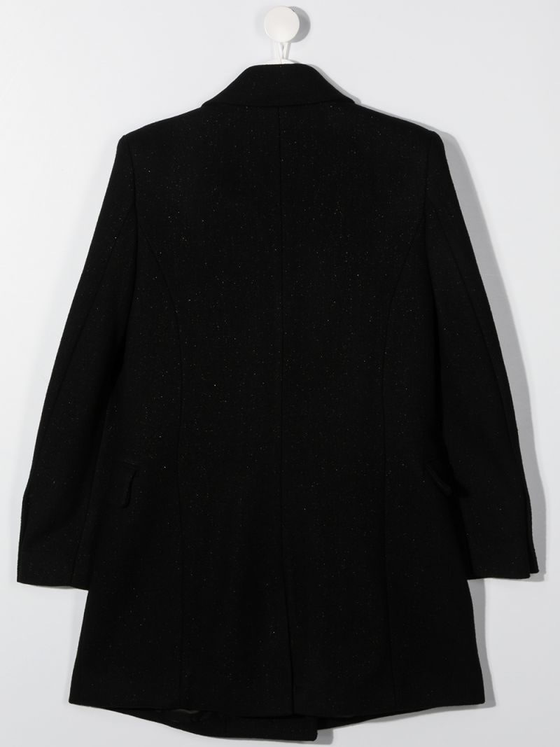 BALMAIN KIDS: double-breasted wool blend coat Color Black_2