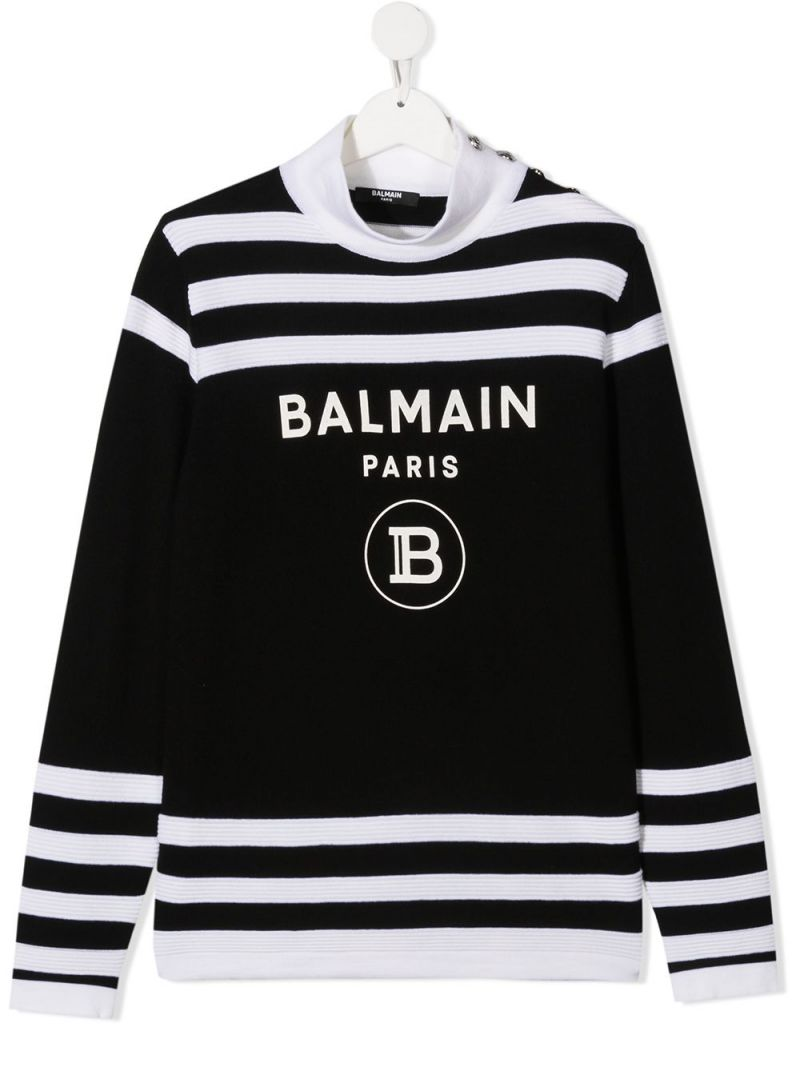 BALMAIN KIDS: Balmain logo print striped wool pullover Color Black_1
