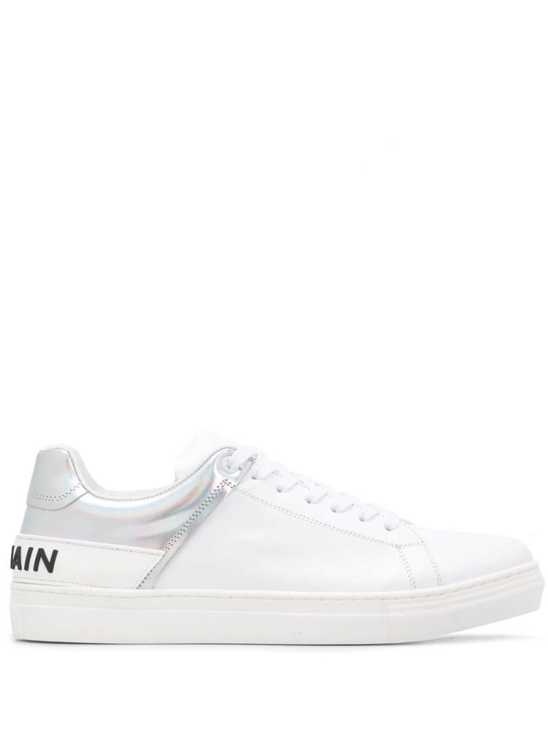 BALMAIN KIDS: logo-detailed smooth leather sneakers Color White_1