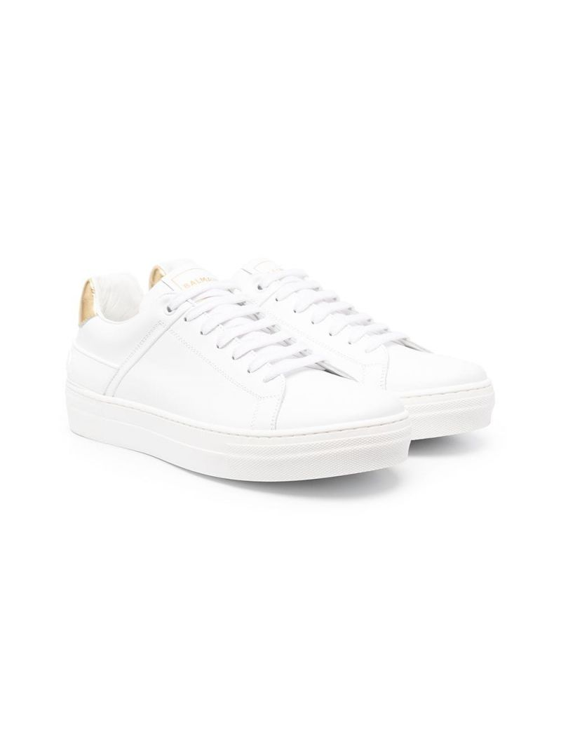 BALMAIN KIDS: smooth leather low-top sneakers Color White_1