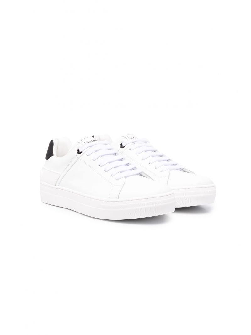 BALMAIN KIDS: smooth leather sneakers Color White_1