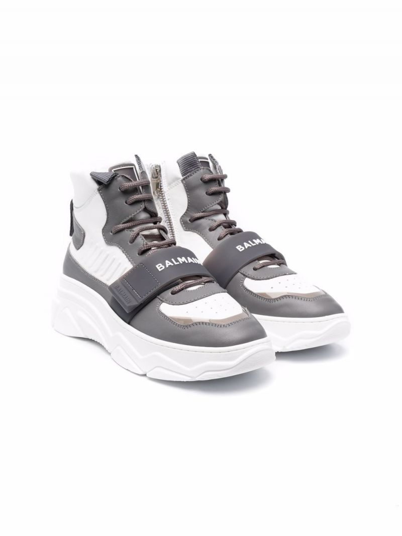 BALMAIN KIDS: smooth leather high-top sneakers Color White_1