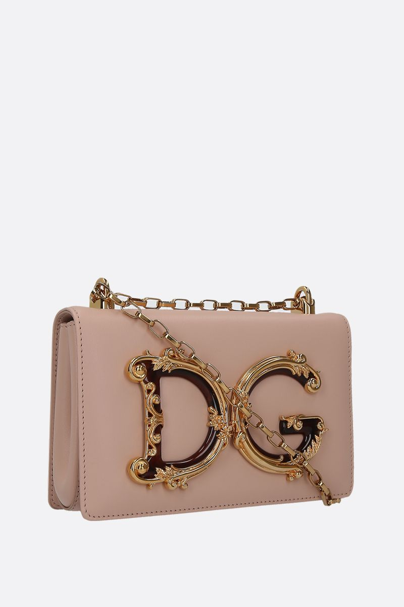 DOLCE & GABBANA: DG Girls crossbody bag in smooth leather Color Neutral_2