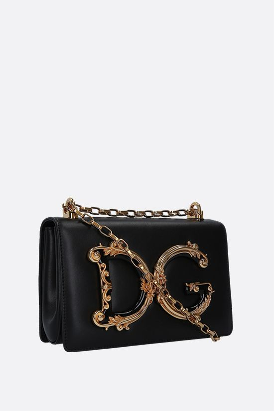 DOLCE & GABBANA: DG Girls smooth leather crossbody bag Color Black_2