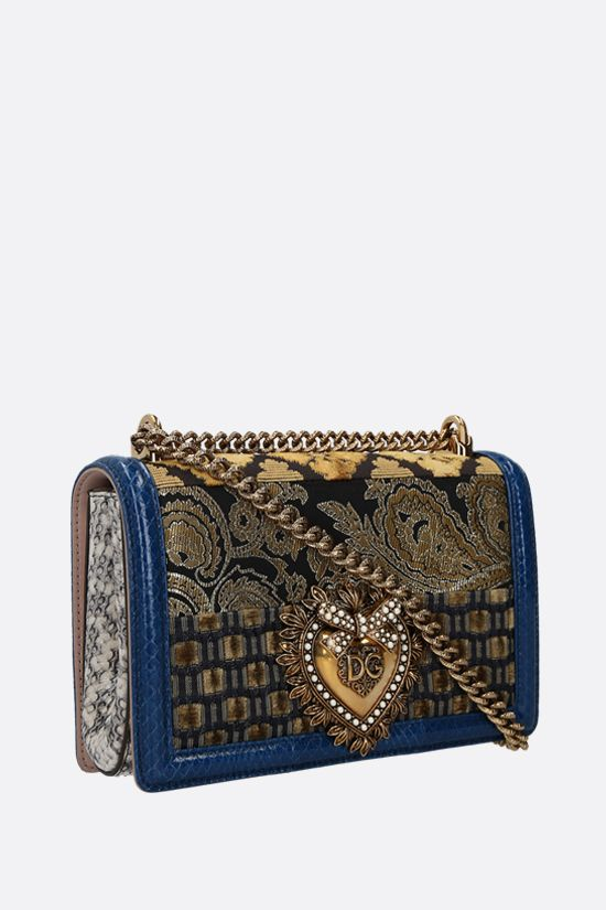 DOLCE & GABBANA: Devotionn medium shoulder bag in a fabric patchwork and snakeskin Color Blue_2