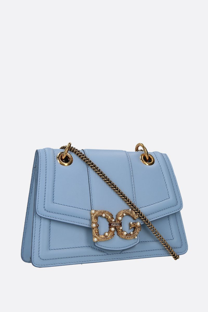DOLCE & GABBANA: DG Amore chain bag in smooth leather Color Blue_2