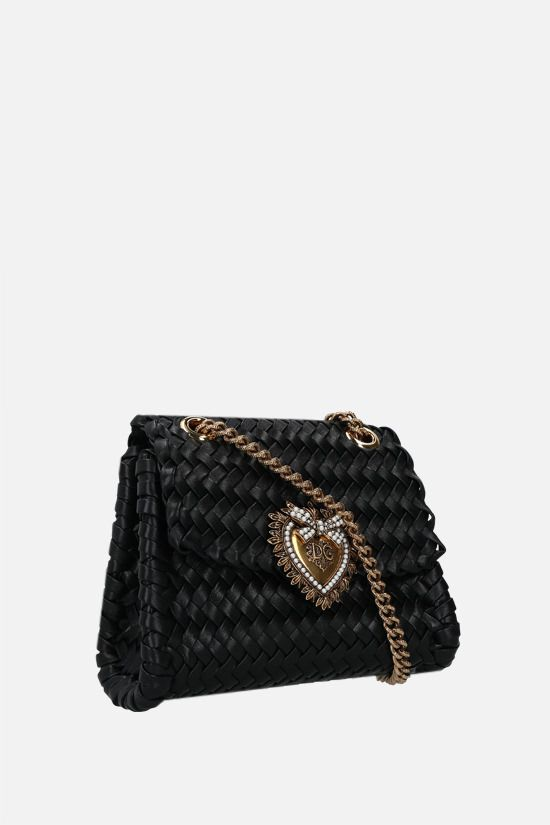DOLCE & GABBANA: Devotion small woven nappa shoulder bag Color Black_2