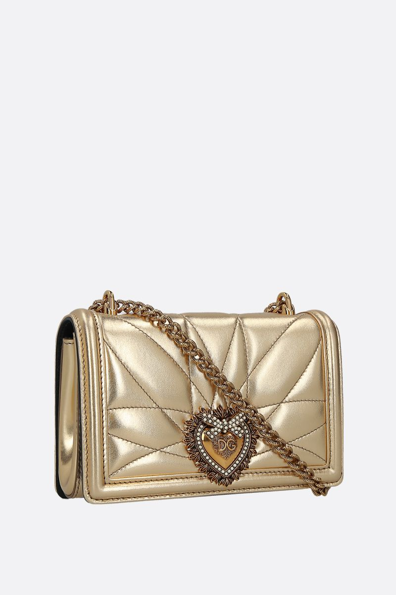 DOLCE & GABBANA: Devotion mini quilted nappa shoulder bag Color Gold_2