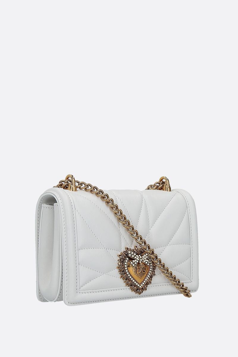 DOLCE & GABBANA: Devotion mini quilted nappa shoulder bag Color White_2