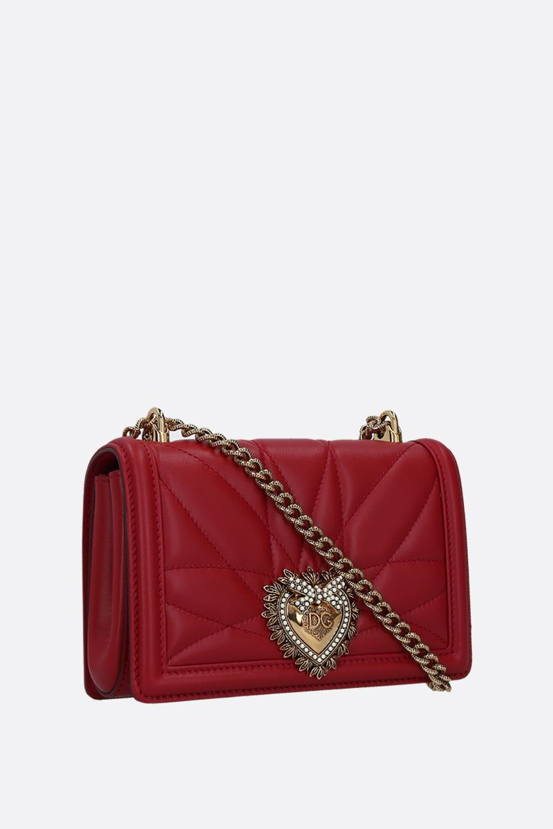 DOLCE & GABBANA: Devotion mini quilted nappa shoulder bag Color Red_2