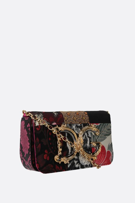 DOLCE & GABBANA: DG Girls crossbody bag in a fabric patchwork and snakeskin Color Purple_2